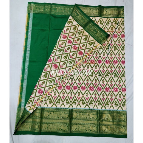 Elders Ikkat Lehenga with Kanchi Border-Pattu-Halfwhite and Green-Sitarini-SITEIL237