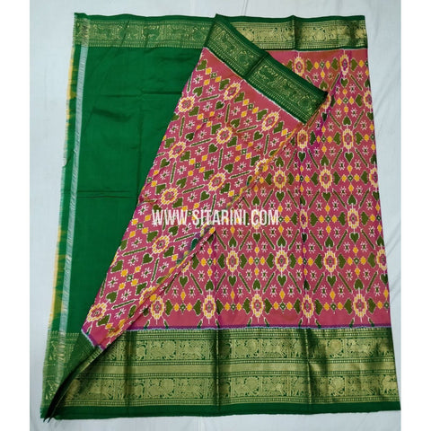 Elders Ikkat Lehenga with Kanchi Border-Pattu-Multicolour-Sitarini-SITEIL235