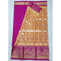 Elders Ikkat Lehenga with Kanchi Border-Pattu-Mustardyellow and Pink-Sitarini-SITEIL243