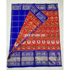 Elders Ikkat Lehenga with Kanchi Border-Pattu-Orange and Blue-Sitarini-SITEIL232