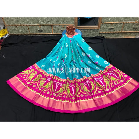 Elder's Ikkat Pattu Lehanga-Blue and Pink-Sitarini-PGMHIPLE106