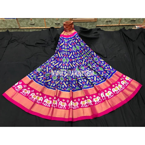 Elder's Ikkat Pattu Lehanga-Blue and Red-Sitarini-PGMHIPLE121