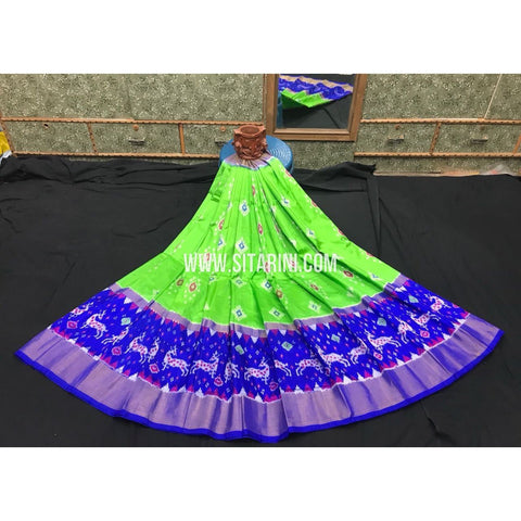 Elder's Ikkat Pattu Lehanga-Green and Blue-Sitarini-PGMHIPLE114