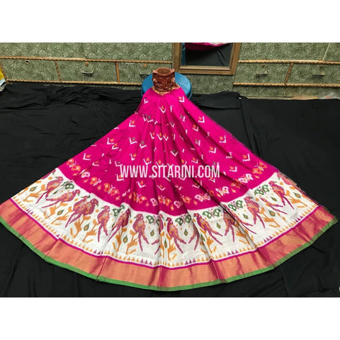 Elder's Ikkat Pattu Lehanga-Pink and cream-Sitarini-PGMHIPLE100