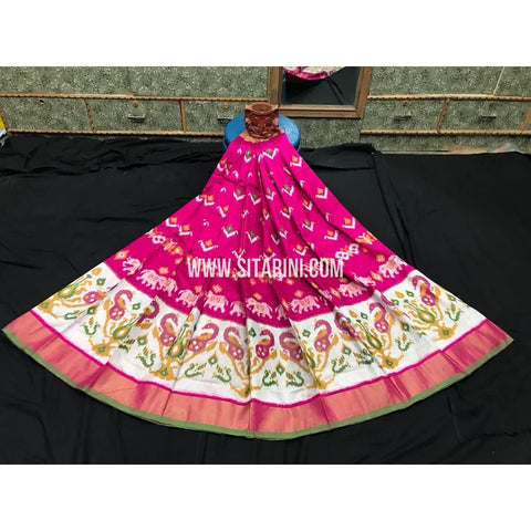 Elder's Ikkat Pattu Lehanga-Pink and Cream-Sitarini-PGMHIPLE102