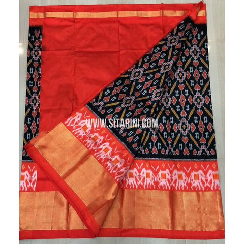 Elder`s Ikkat Pattu Lehenga-Black and Orange-Sitarini-PRRHIPLE109