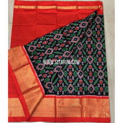 Elder`s Ikkat Pattu Lehenga-Black and Orange-Sitarini-PRRHIPLE134
