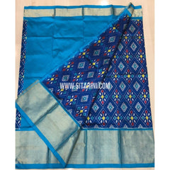 Elder`s Ikkat Pattu Lehenga-Blue and Skyblue-Sitarini-PRRHIPLE101