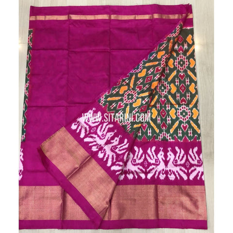 Elder`s Ikkat Pattu Lehenga-Green and Pink-Sitarini-PRRHIPLE110