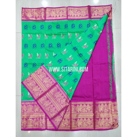 Elders Ikkat Pattu Lehenga-Kanchi Border-Green and Pink-Sitarini-SITEIL420