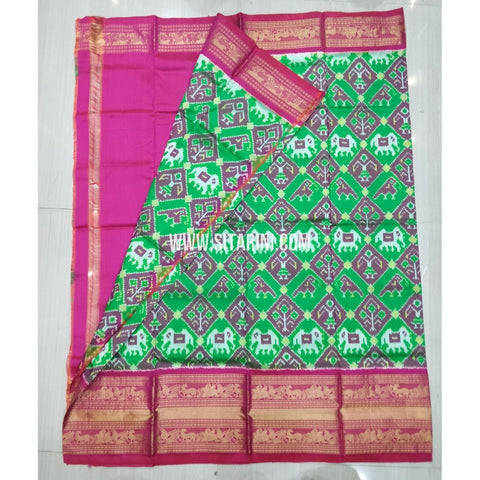 Elders Ikkat Pattu Lehenga-Kanchi Border-Green and Pink -Sitarini-SITEIL428