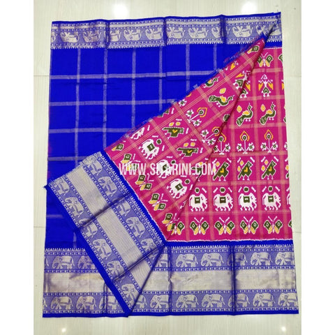 Elders Ikkat Pattu Lehenga-Kanchi Border-Pink and Blue-Sitarini-SITEIL423