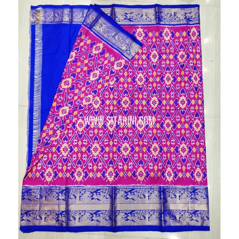Elders Ikkat Pattu Lehenga-Kanchi Border-Pink and Blue-Sitarini-SITEIL426