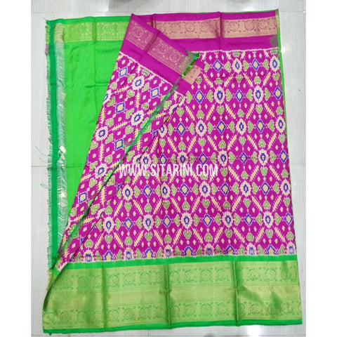 Elders Ikkat Pattu Lehenga-Kanchi Border-Pink and Green-Sitarini-SITEIL431