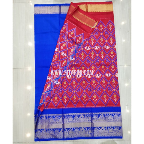 Elders Ikkat Pattu Lehenga-Kanchi Border-Red and Blue-Sitarini-SITEIL427