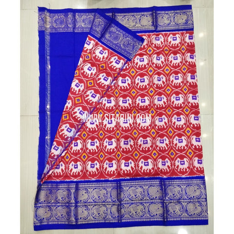 Elders Ikkat Pattu Lehenga-Kanchi Border-Red and Blue-Sitarini-SITEIL430