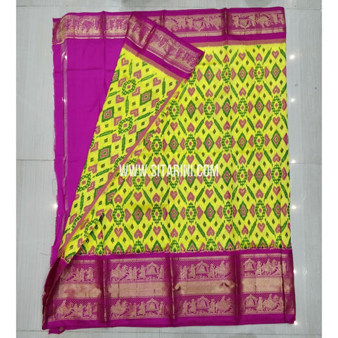Elders Ikkat Pattu Lehenga-Kanchi Border-Yellow and Pink-Sitarini-SITEIL425