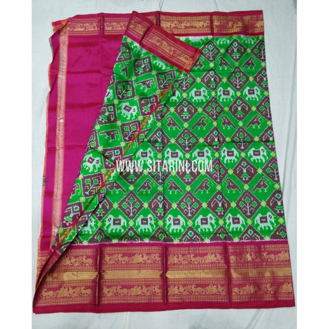 Elder's Ikkat Pattu Lehenga with Kanchi boarder-Green and Pink-Sitarini-PSHIPLE147