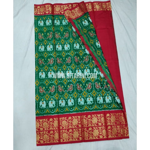 Elder's Ikkat Pattu Lehenga with Kanchi boarder-Green and Red-Sitarini-PSHIPLE140