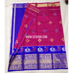 Elder's Ikkat Pattu Lehenga with Kanchi boarder-Pink and Blue-Sitarini-PSHIPLE150