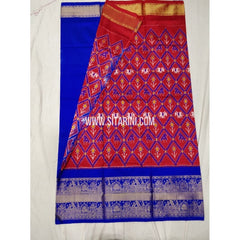 Elder's Ikkat Pattu Lehenga with Kanchi boarder-Red and Blue-Sitarini-PSHIPLE151