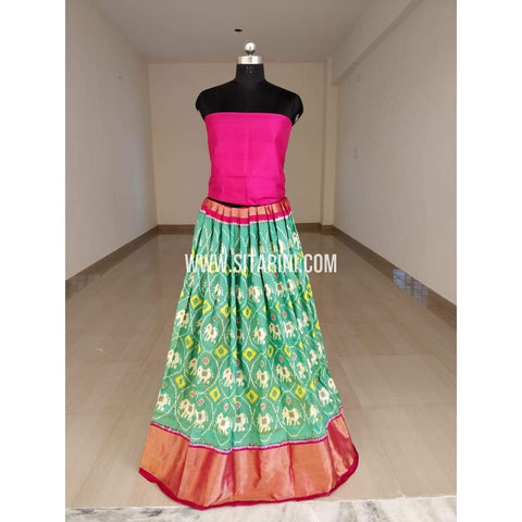 Elders Ikkat Silk Lehenga-Sea Green-Sitarini-SITEIL510