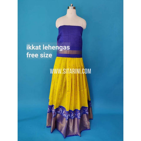 Elders Ikkat Silk Lehenga-Yellow-Sitarini-SITEIL488