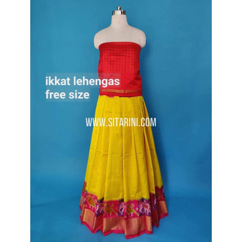 Elders Ikkat Silk Lehenga-Yellow-Sitarini-SITEIL496