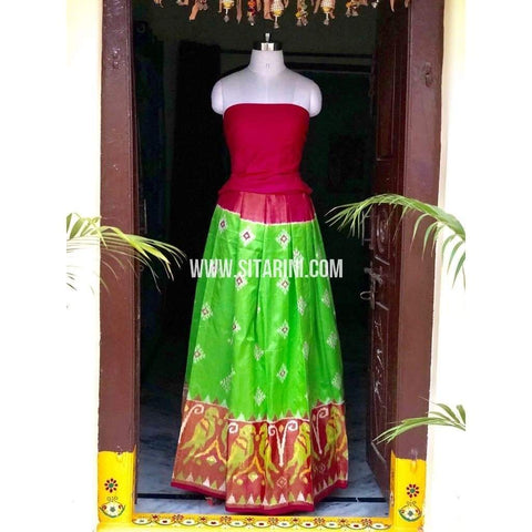Elder's Pochampally Ikkat Pattu Lehenga in Dark Pink and Parrot Green-Sitarini-PSHIPL127