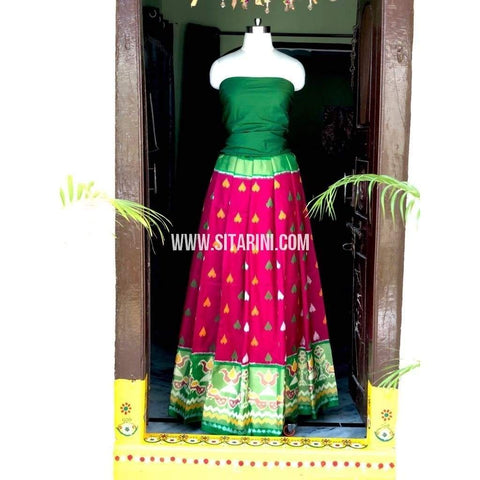 Elder's Pochampally Ikkat Pattu Lehenga in Green and Pink-Sitarini-PSHIPL132