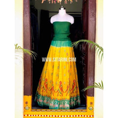 Elder's Pochampally Ikkat Pattu Lehenga in Green and Yellow-Sitarini-PSHIPL130