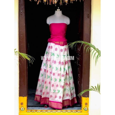Elder's Pochampally Ikkat Pattu Lehenga in Pink and Cream-Sitarini-PSHIPL124