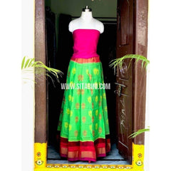 Elder's Pochampally Ikkat Pattu Lehenga in Pink and Light Green-Sitarini-PSHIPL125