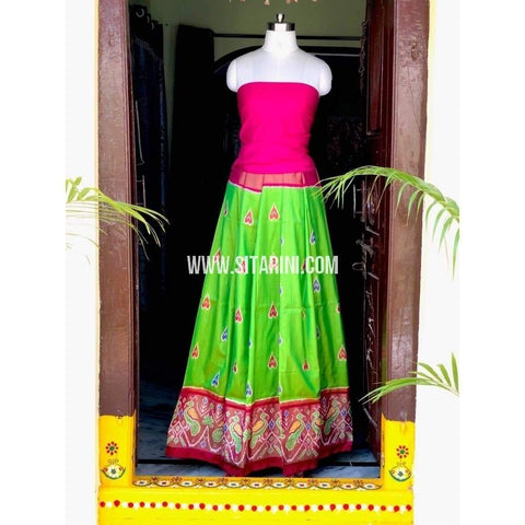 Elder's Pochampally Ikkat Pattu Lehenga in Pink and Parrot Green-Sitarini-PSHIPL129