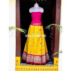 Elder's Pochampally Ikkat Pattu Lehenga in Pink and Yellow-Sitarini-PSHIPL123