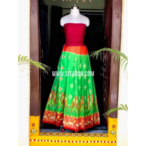 Elder's Pochampally Ikkat Pattu Lehenga in Red and Green-Sitarini-PSHIPL133