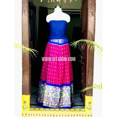 Elder's Pochampally Ikkat Pattu Lehenga in Royal Blue and Pink-Sitarini-PSHIPL134