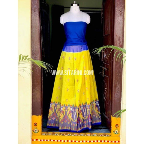 Elder's Pochampally Ikkat Pattu Lehenga in Royal Blue and Yellow-Sitarini-PSHIPL138