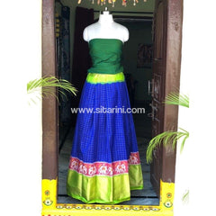 Elder's Pochampally Ikkat Silk Zari Lehenga in Green and Royal Blue Color-Sitarini-PSHIPL117