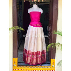 Elder's Pochampally Ikkat Silk Zari Lehenga in Pink and Cream Color-Sitarini-PSHIPL100