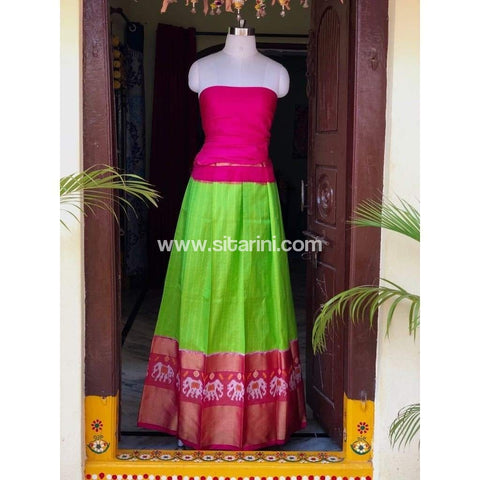 Elder's Pochampally Ikkat Silk Zari Lehenga in Pink and Green Color-Sitarini-PSHIPL103