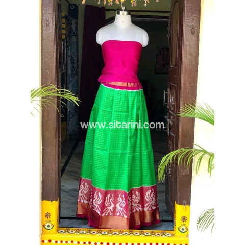 Elder's Pochampally Ikkat Silk Zari Lehenga in Pink and Green Color-Sitarini-PSHIPL110