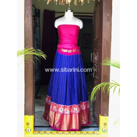 Elder's Pochampally Ikkat Silk Zari Lehenga in Pink and Royal Blue Color-Sitarini-PSHIPL101