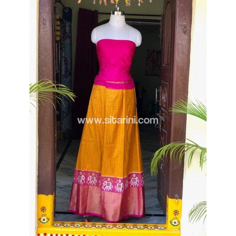 Elder's Pochampally Ikkat Silk Zari Lehenga in Pink and Yellow Color-Sitarini-PSHIPL106