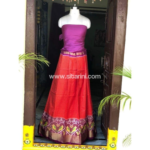 Elder's Pochampally Ikkat Silk Zari Lehenga in Purple and Red-Sitarini-PSHIPL120