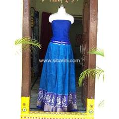 Elder's Pochampally Ikkat Silk Zari Lehenga in Royal Blue and Blue Color-Sitarini-PSHIPL109