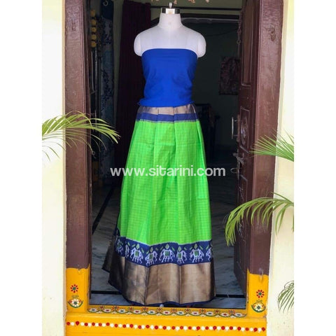 Elder's Pochampally Ikkat Silk Zari Lehenga in Royal Blue and Green Color-Sitarini-PSHIPL113