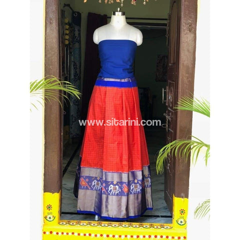 Elder's Pochampally Ikkat Silk Zari Lehenga in Royal Blue and Orange Color-Sitarini-PSHIPL112