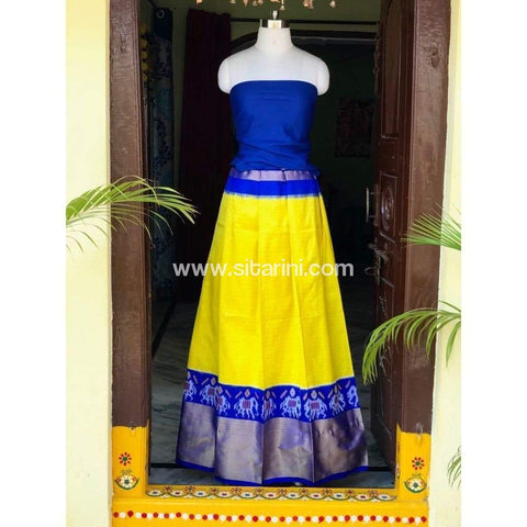 Elder's Pochampally Ikkat Silk Zari Lehenga in Royal Blue and Yellow Color-Sitarini-PSHIPL108
