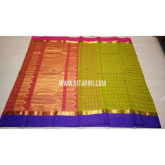 Fancy Kuppadam Saree with Checks-Green-USHKFC107
